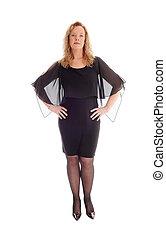 mulher, dress., pretas, loura