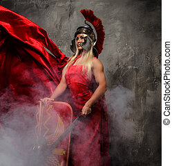 mulher, dress., vibrar, vermelho