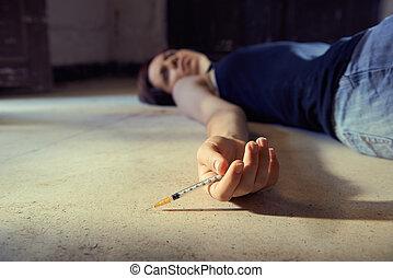 mulher, droga, abuse-young, injetar, siringa, heroína