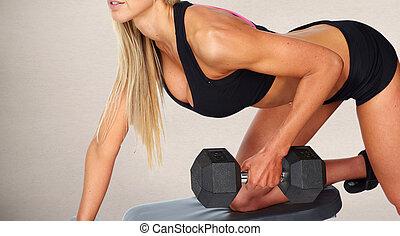 mulher, dumbbell, exercise.