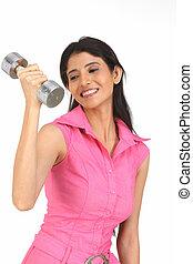mulher, dumbbell, exercitar
