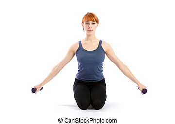 mulher, dumbbells, condicão física