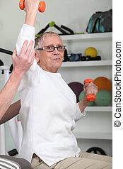 mulher, dumbbells, idoso, levantamento