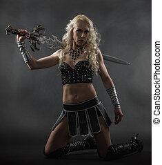 mulher, e, espada