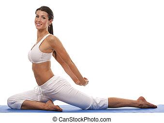 mulher, e, ioga
