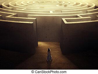 mulher, e, labirinto