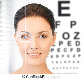 mulher, e, mapa olho