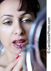 mulher, e, maquiagem