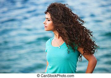 mulher, e, mar