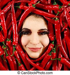 mulher, e, pimenta pimenta-malagueta vermelha