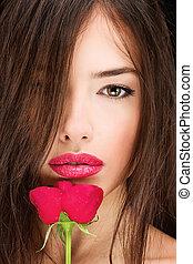 mulher, e, rosa vermelha