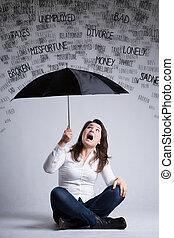 mulher, e, um, chuva, de, problemas
