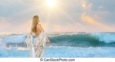mulher, elegante, andar, praia