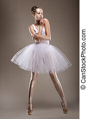 mulher, elegante, sensuality., fantasia, dress., posar, denominado, branca