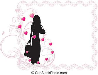 mulher, elegante, silueta, bonito