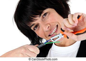 mulher, eletricista