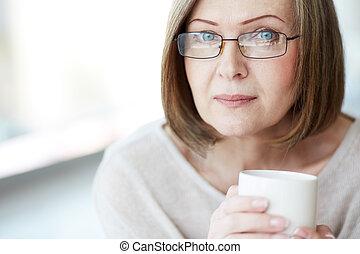 mulher, em, óculos