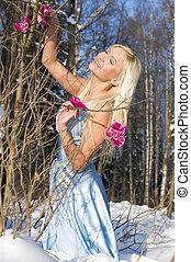 mulher, em, a, floresta, com, orquídea