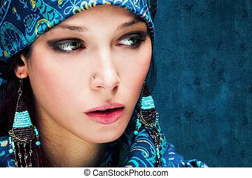 mulher, em, azul