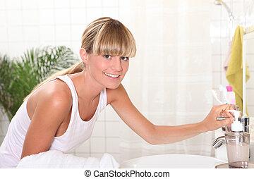 mulher, em, banheiro
