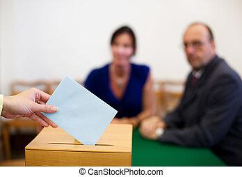 mulher, em, barraca votando