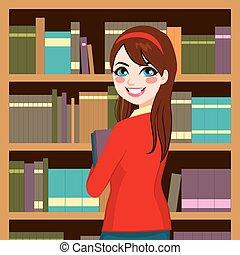 mulher, em, biblioteca