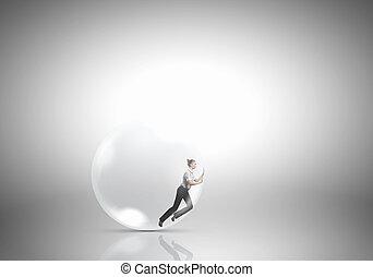 mulher, em, bolha sabão