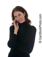 mulher, em, camisa preta, falar telefone pilha, 1
