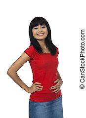 mulher, em, camisa vermelha