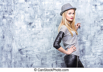 mulher, em, chapéu