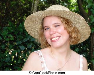 mulher, em, chapéu palha