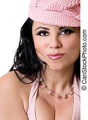 mulher, em, cor-de-rosa
