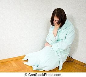 mulher, em, depressão