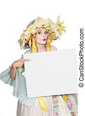 mulher, em, disfarce, apontar, mensagem branco, tábua