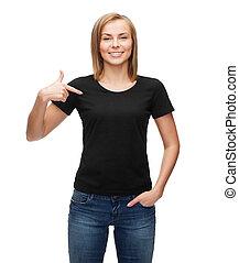 mulher, em, em branco, t-shirt preto
