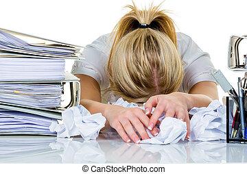 mulher, em, escritório, com, burnout