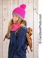 mulher, em, inverno, com, antigas, holandês, madeira, patins gelo