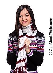 mulher, em, morno, suéter