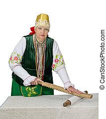 mulher, em, nacional, histórico, russo, traje