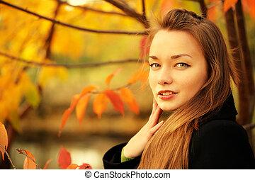 mulher, em, outono