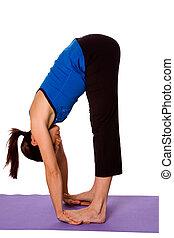 mulher, em, posição ioga