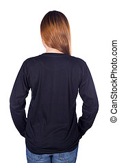 mulher, em, pretas, manga longa, t-shirt, isolado, branco,...