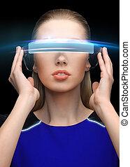 mulher, em, realidade virtual, vidros 3d, sobre, pretas