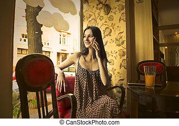 mulher, em, restaurante