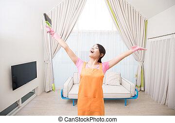 mulher, em, sala de estar