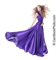 mulher, em, seda roxa, waving, vestido, andar, sobre, isolado, fundo branco