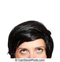 mulher, em, shortinho, cabelo preto