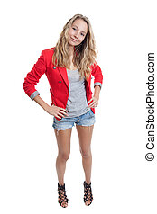 mulher, em, shortinho, calças brim, e, capa vermelha