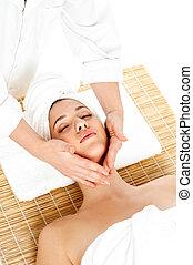 mulher, em, spa, adquire, um, massagem facial