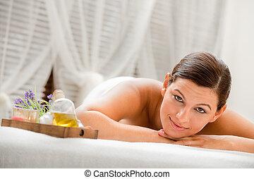 mulher, em, spa